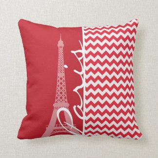 Paris Alizarin Crimson Chevron Throw Pillows