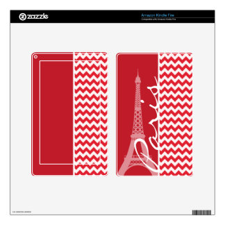 Paris; Alizarin Crimson Chevron Kindle Fire Decals