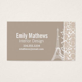 Paris; Almond Color Damask Pattern Business Card