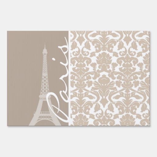 Paris; Almond Color Damask Pattern Signs