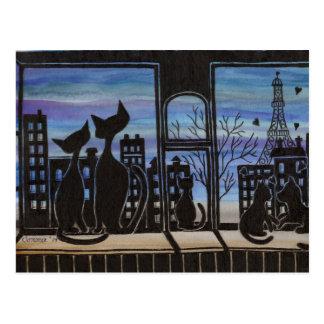 París, amor, postal romántica del gatito