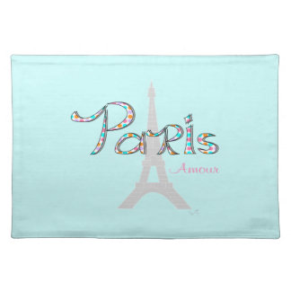PARIS Amour with Eiffel Tower Cloth Placemat