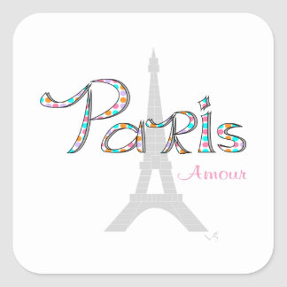 PARIS Amour with Eiffel Tower Square Sticker