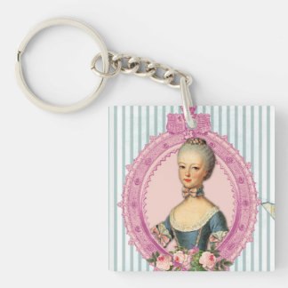 Paris and Antoinette Single-Sided Square Acrylic Keychain