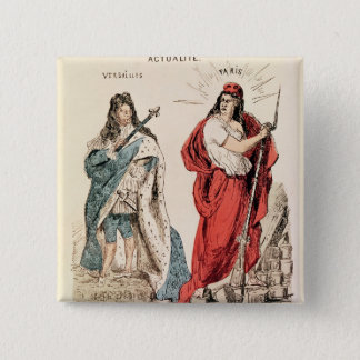 Paris and Versailles Glaring at Each Other, 1871 Pinback Button