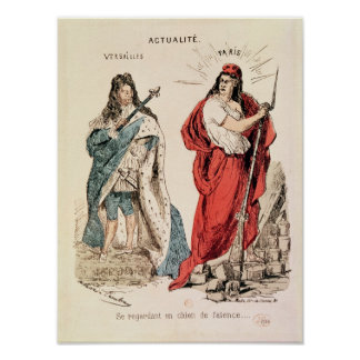Paris and Versailles Glaring at Each Other, 1871 Poster