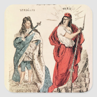 Paris and Versailles Glaring at Each Other, 1871 Square Sticker
