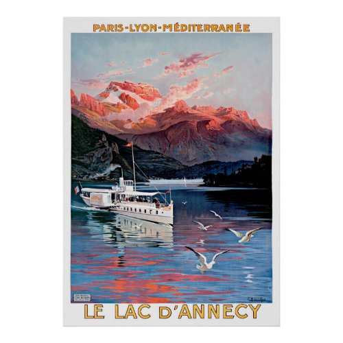 Paris Annecy Travel Poster Restored