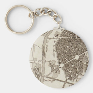 Paris Antique Map Basic Round Button Keychain