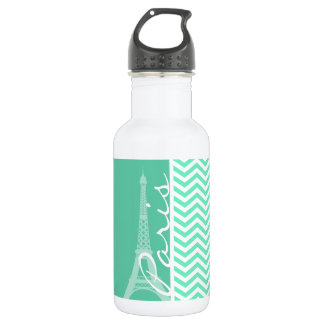 Paris; Aquamarine Chevron Water Bottle