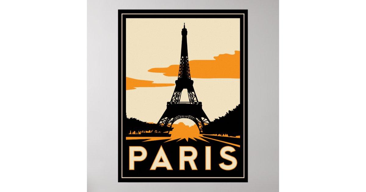 Paris art deco retro poster zazzle - Magasin art deco paris ...