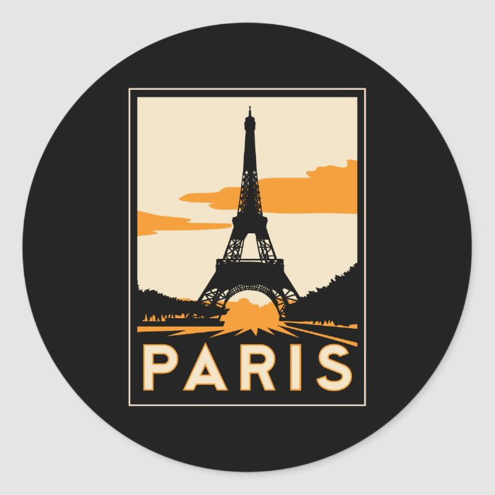 paris art deco retro travel poster classic round sticker