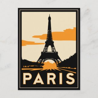 paris art deco retro travel poster postcard