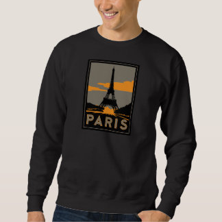 paris art deco retro travel poster pullover sweatshirt