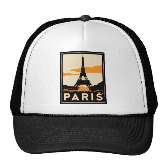 paris art deco retro travel poster trucker hat