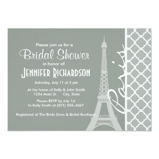Paris; Ash Gray Moroccan Quatrefoil Card