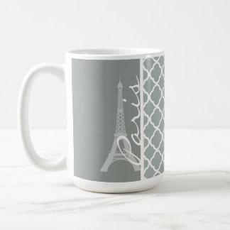 Paris; Ash Gray Moroccan Quatrefoil Coffee Mug