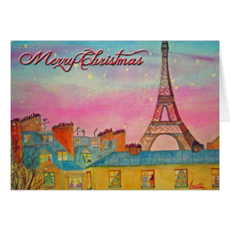 Paris at Christmas time - Merry Christmas ! Greeting Card