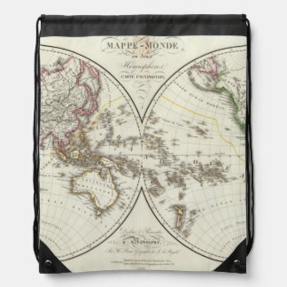 Paris Atlas Map Drawstring Backpack