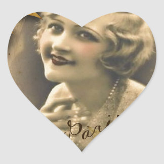 Paris autumn leaves vintage 1920 great gatsby Girl Heart Sticker