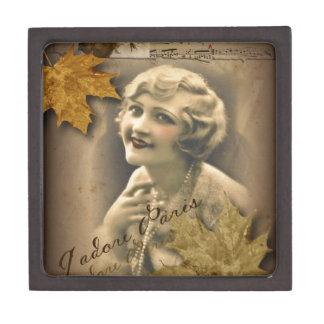 Paris autumn leaves vintage 1920 great gatsby Girl Jewelry Box