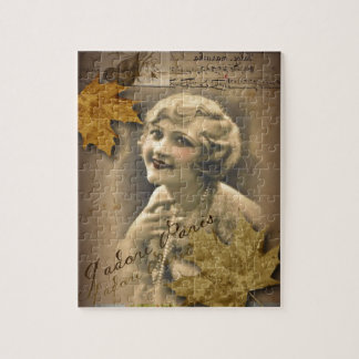 Paris autumn leaves vintage 1920 great gatsby Girl Jigsaw Puzzle