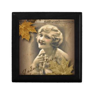 Paris autumn leaves vintage 1920 great gatsby Girl Keepsake Box