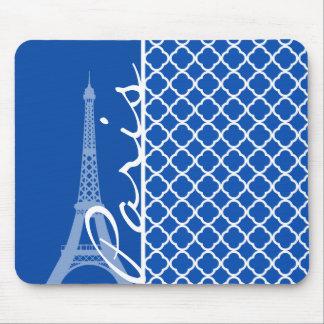París; Azul de cobalto Quatrefoil Alfombrillas De Raton
