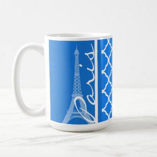 Paris; Azure Blue Quatrefoil Coffee Mug