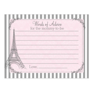 Paris Baby Shower Advice Card For The Mom To Be