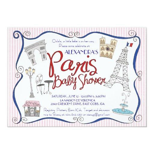 paris baby shower invitation zazzle