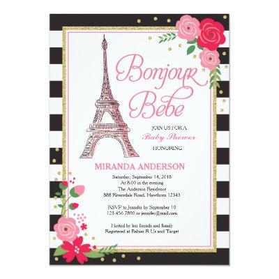 Bonjour bebe paris girl baby shower invitation zazzle filmwisefo Gallery