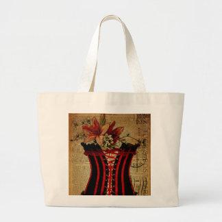 Paris Bachelorette Party vintage corset Large Tote Bag