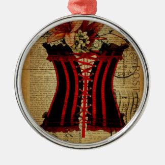 Paris Bachelorette Party vintage corset Metal Ornament