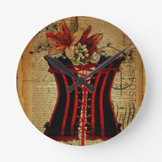 Paris Bachelorette Party vintage corset Round Clock