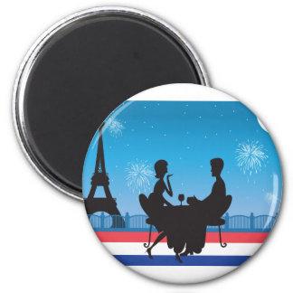 Paris Background 2 Inch Round Magnet