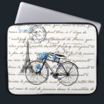 "Paris Bicycle Forgetmenot Laptop Sleeve<br><div class=""desc"">A great vintage bicycle draped in a spray of blue forget me nots with the Eiffel Tower in the background and a handwritten Paris address and postmarks from an old French letter are set against text from Victor Hugo&#39;s &quot;Notre Dame du Paris&quot; to make this lovely graphic pillow. There is...</div>"