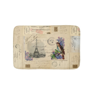 Paris Bird Lilac French Postcard Bathmat