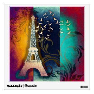 Paris bird swirl art wall cling wall sticker