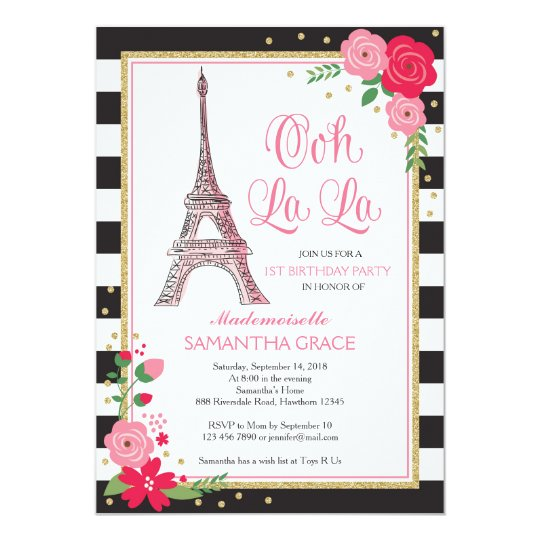 Paris Birthday Invitation Invite