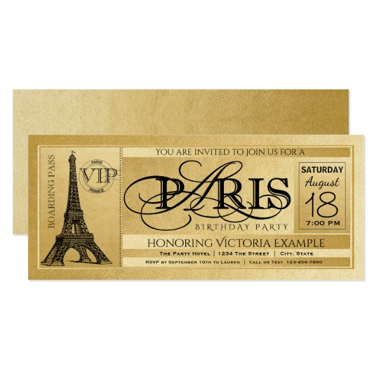 Paris Birthday Party Invitation Gold Paris Ticket – Ticket Birthday Party Invitations