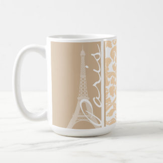 Paris; Bisque Color Damask Pattern Coffee Mug
