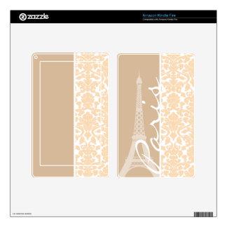Paris; Bisque Color Damask Pattern Kindle Fire Skin