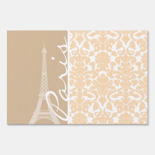 Paris; Bisque Color Damask Pattern Signs