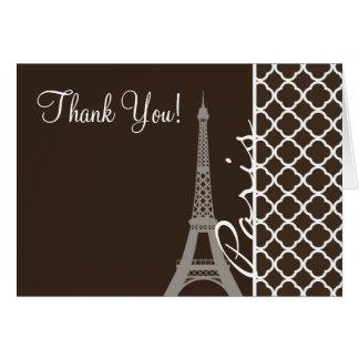 Paris; Bistre Brown Quatrefoil Card