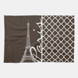 Paris; Bistre Brown Quatrefoil Kitchen Towels