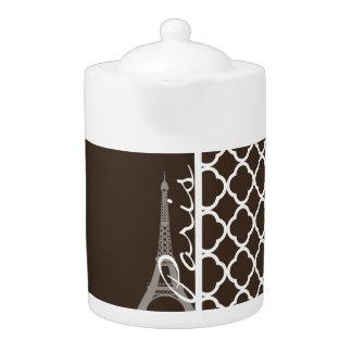 Paris; Bistre Brown Quatrefoil Teapot