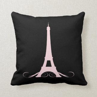 Paris Black and Pink Eiffel Tower Throw Pillow