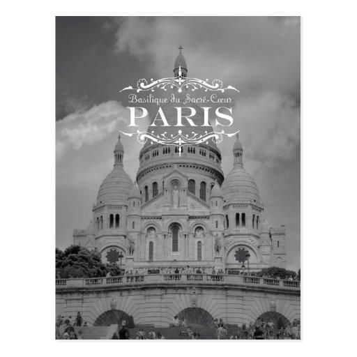 Paris Black and White Travel Postcard Sacre Coeur