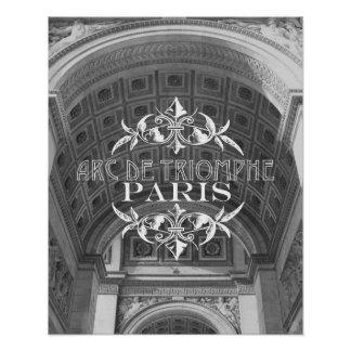 Paris Black and White Travel Poster: Arc Triomphe